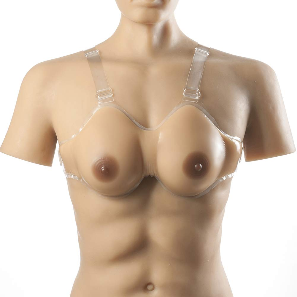 Silicone Breast Forms Realistic Waterdrop Shaped Fake Boobs with Adjustable Straps,for Crossdresser Transgender Mastectomy,500g/10x6x2inch/CupA