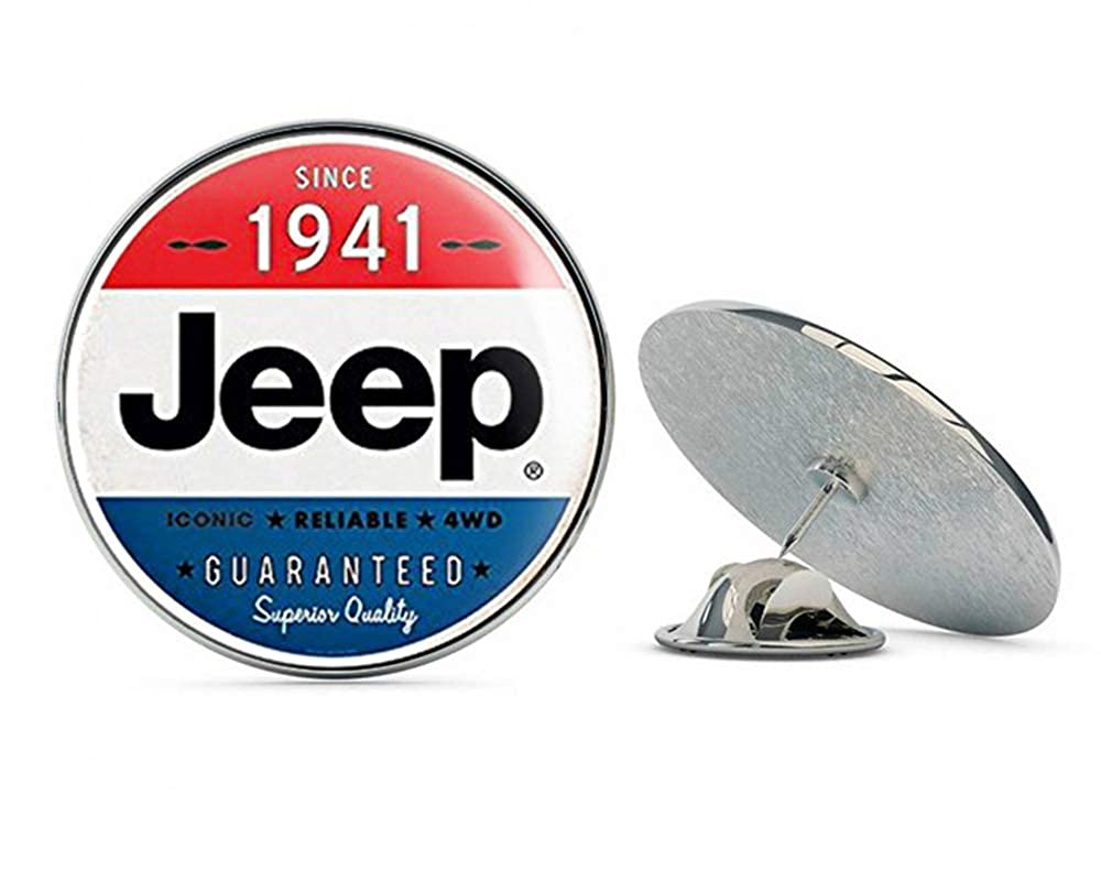 NYC Jewelers Round Vintage Jeep Since 191 (Wrangler Logo Old Rat Rod) Metal 0.75 Lapel Hat Pin Tie Tack Pinback