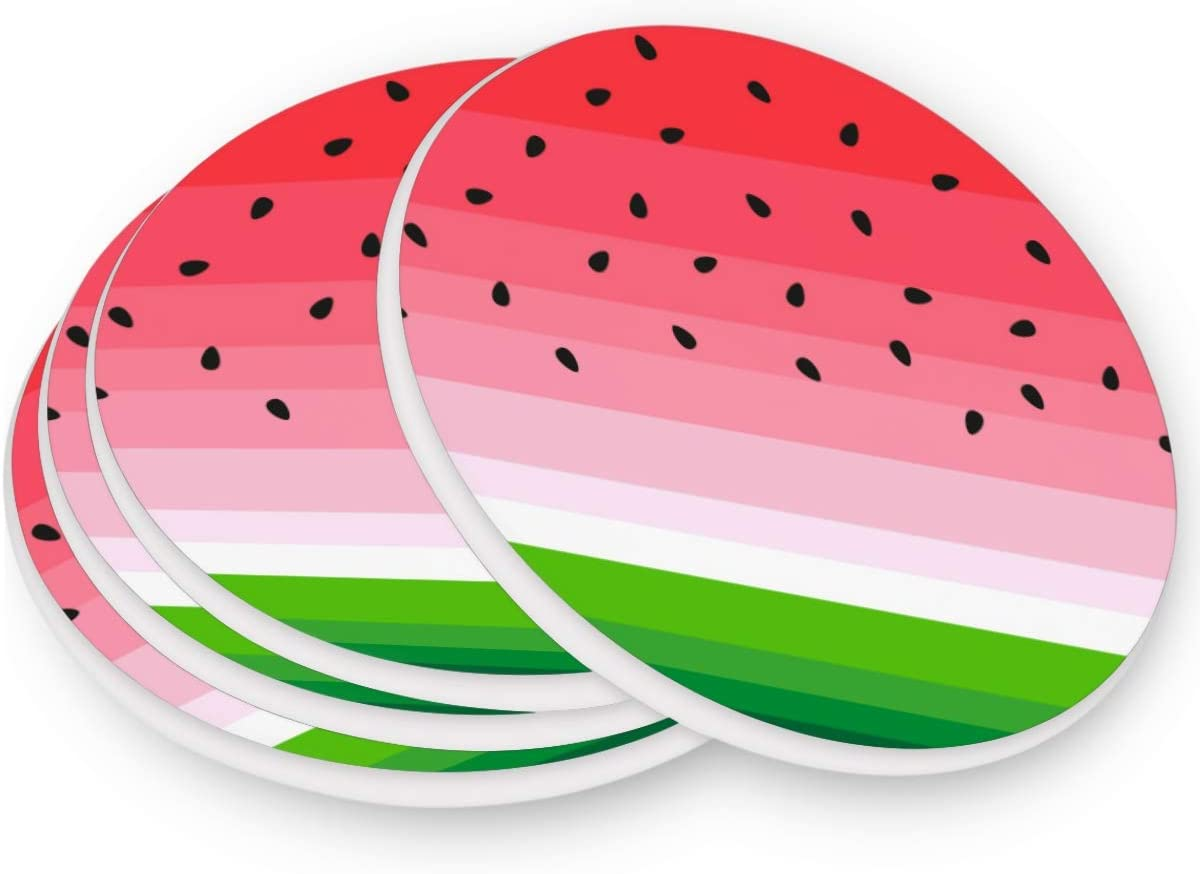 visesunny Watermelon Print Drink Coaster Moisture Absorbing Stone Coasters with Cork Base for Tabletop Protection Prevent Furniture Damage, 4 Pieces