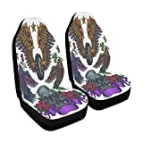 INTERESTPRINT Old School Flying Theme Tattoos Seat Protector for Car, Truck, Seden, SUV