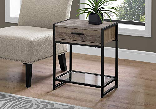 End Specialty Grain (Monarch Specialties I 3501 Accent, END Table, Night Stand, Taupe)