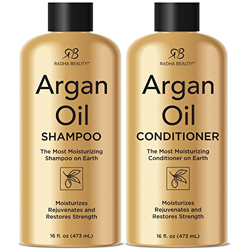 Radha Beauty Argan Oil Shampoo & Conditioner Set, 16 fl oz. for Daily Use, Moisture, and Hair Restoration - Sulfate Free for Men & Women from Radha Beauty