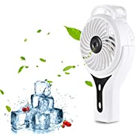Lightweight Handheld USB Misting Fan, Joymixx Mini Water Spray Fan with Personal Cooling Humidifier for Outdoor Office Travel Home, Mute Quite, Built in 2200mAh Rechargeable Battery (White)