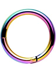 """Body Candy Rainbow Anodized Stainless Steel Hinged Segment Ring Circular Barbell 14 Gauge 3/8"""""""