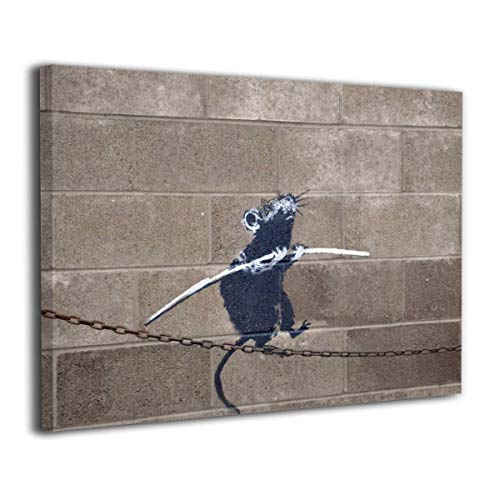 UU ART- Rat Balancing On Tight Rope Chain - Banksy Street Artwork On Canvas Stretched Gallery Wrap. Ready to Hang- Canvas Art Wall Decor - 24'' X 36'' (Rat Artwork Pack)
