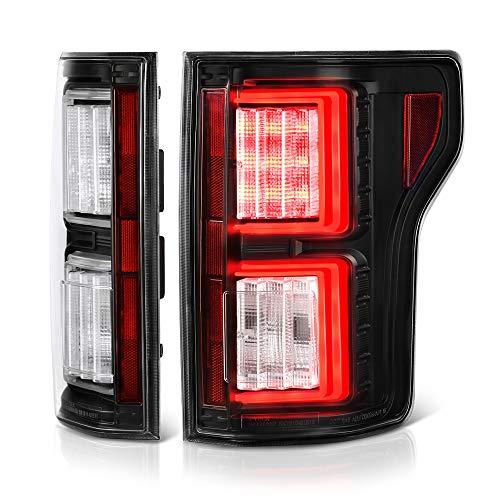 VIPMOTOZ Premium OLED Tube Black Housing LED Tail Light Lamp Assembly For 2018-2019 Ford F-150 Pickup Truck, Driver & Passenger Side