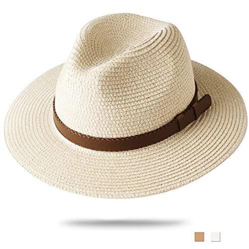FURTALK Panama Hat Sun Hats for Women Men Wide Brim Fedora Straw Beach Hat UV UPF 50 Medium Size (22'-22.8'), Beige with Leather Belt