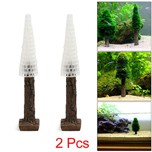 uxcell 2Pcs Plastic Moss Christmas Tree Trunk Aquascape Ornament for Aquarium Fish Tank