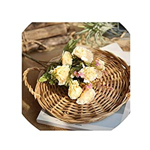 crystal004 Excellent Artificial Silk Flowers Carnation 10 Heads/Bouquet Lilac Wedding Party Home Decoration,Champagne 31