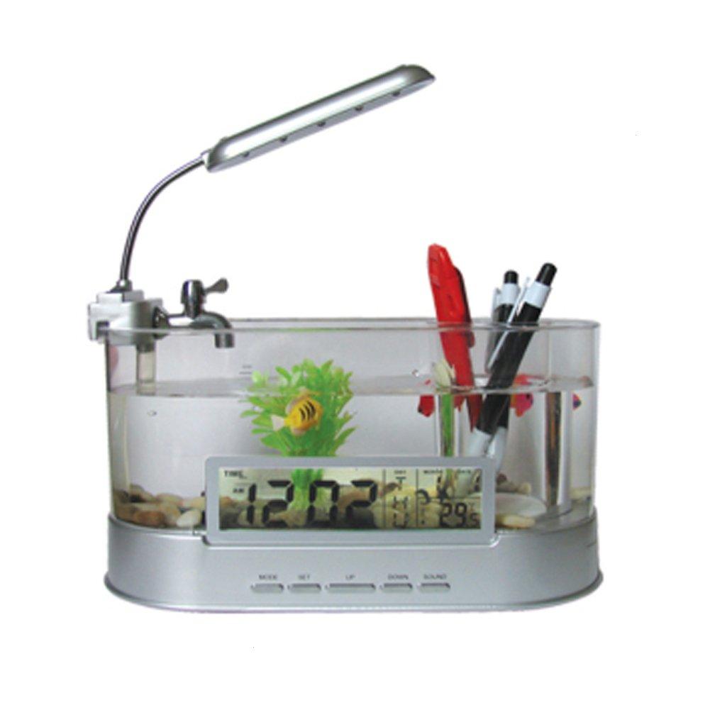 juxinuk 1 pc Mini USB Bureau Fish Tank Aquarium avec Horloge Lumineuse LED Aquarium ornements pour la Maison et Bureau Décoration (Noir)