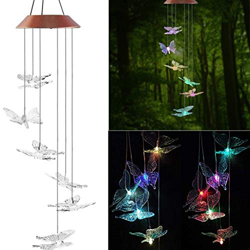 - YunZyun Butterfly Wind Chimes Light LED Solar Powered Wind Chimes Light for Home and Garden Hanging Decor (Multicolor)