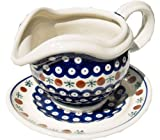 "Polish Pottery Gravy Boat with Saucer 22 Oz. From Zaklady Ceramiczne Boleslawiec #1530-41 Classic Pattern, Capacity 22 Oz. Height: 4.6"" Width: 6.6"""