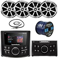 Rockford Fosgate PMX-2 Bluetooth Marine Boat MP3 Compact Digital Media Receiver Bundle Combo With PMX-0R Wired Remote Control + 4x Jensen MSX60CPR 6.5 2-Way Speakers + 22 Radio Antenna + 50 Ft Wire