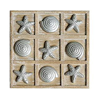 NIKKY HOME Wood Board Travel Game Beach Tic Tac Toe for Fun, 8.93 x 8.93 x 1.26 inches - Silver