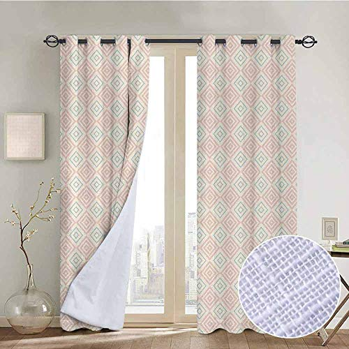 NUOMANAN Window Curtain Fabric Shabby Chic,Vintage Style Nested Diamond Line Tile Pattern Shabby Chic Ornament,Peach Coral Light Blue,Rod Pocket Curtain Panels for Bedroom & Living Room 120