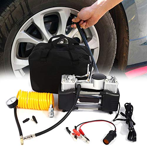 Zerone Air Compressor Electric Portable Double Cylinder Air Pump 12/ V Compressor Inflation of Tyres with 4/ Nozzle Adapters for Sedan Car Bike Truck Motorised