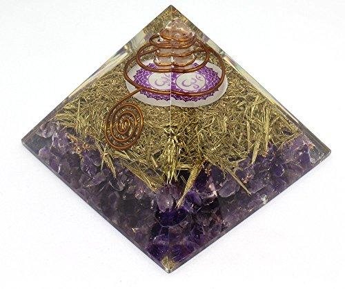Orgone Pyramid Energy Generator - Crown Chakra Symbol Orgonite Amethyst Crystal Pyramid with Brass Metal for EMF Protection - Chakra Balancing-Healing-Meditation-Yoga by Orgonite Crystal