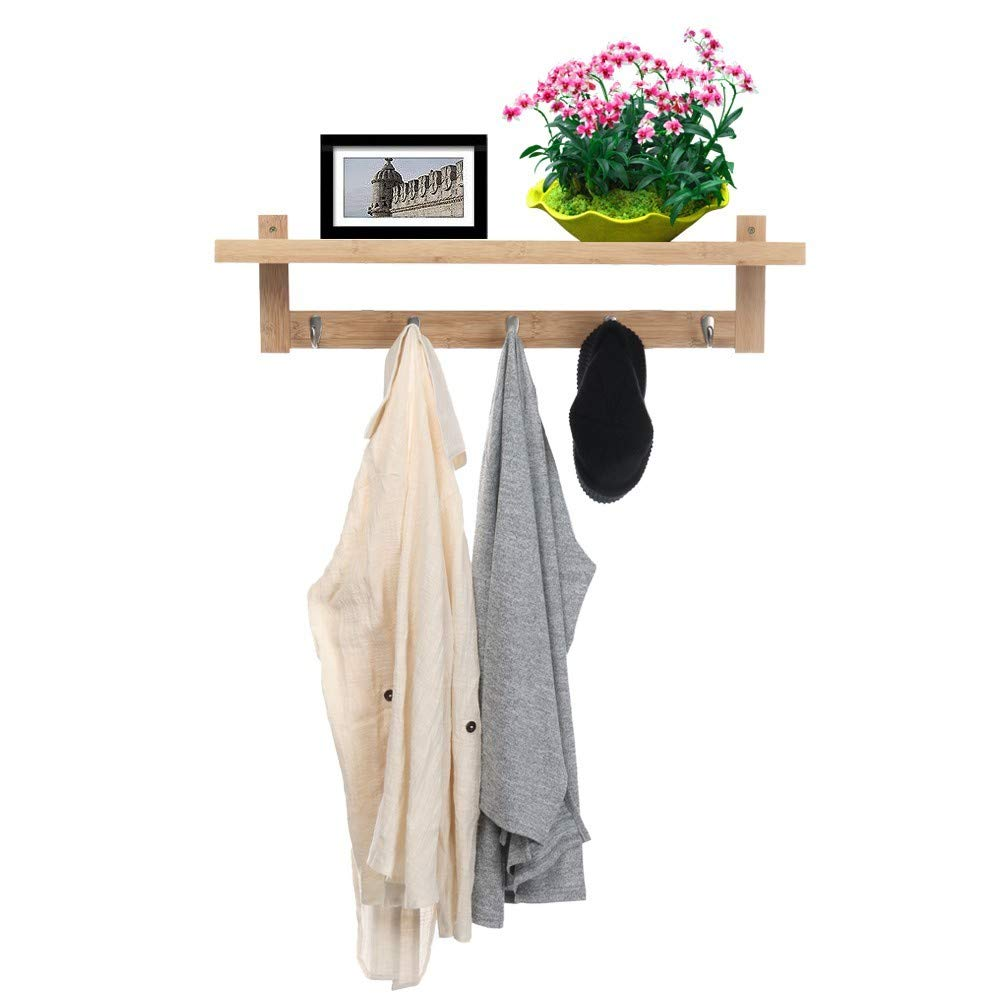 Mostbest Wall Mounted Bamboo Coat Rack Entryway Wall Shelf Solid Wooden Organizer with Hooks Storage Cabinets for Hallway Living Room, Entryway Key Rack
