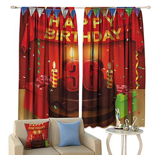 fengruiyanjing 36th Birthday, Window Curtain Drape, Celebration Party with Cake Candles and Presents Happy Birthday Print, Customized Curtains,(W63 x L63 Inch, Red and Burgundy - Match Curtain Pole