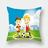 Custom Satin Pillowcase Protector Children Playing Soccer Outdoors Pillow Case Covers Decorative