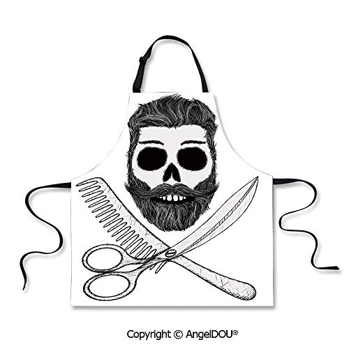 SCOXIXI Adult Kitchen Dinner Party Cooking Apron Hipster Skull with Hairstyle Beard and Mustache Comb and Scissors Creepy Retro for Kitchen Men Women use.