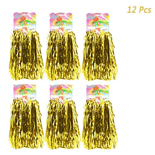 Hatisan 12 Pack Cheerleading Pom Poms - Ultra Shining Cheerleader Pompoms for Sports Team Spirit Cheering Party Dance Useful Accessories (Gold)]()