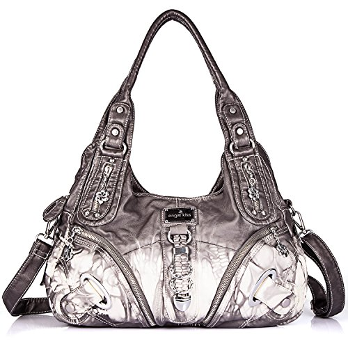 Multiple Kahki Roomy Shoulder Women Tote Handbag Bag Bag for Pockets Women Fashion PU 11282z ladies' Bag Hobo Street Satchel q18wfI8U