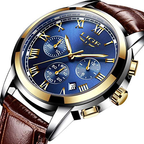 (LIGE Mens Watches Fashion Business Quartz Analog Waterproof Watch Gents Sport Chronograph Date Wristwatch Casual Leather Blue Dress Calendar Clock Men)