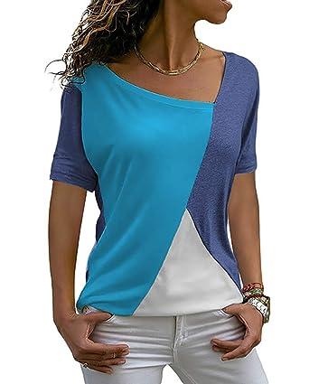 e12c04647d26a Yidarton T Shirt Femme Col V Manche Courte Ete Casual Bloc de Couleur Tee  Shirt Top