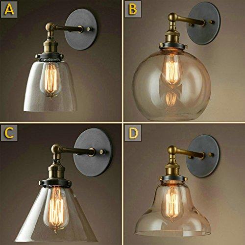 5151BuyWorld American Country Eisen-Wand-Lampe Industrielle Retro Loft Light Glas Shade Kugel Badezimmer Flur [A Lampe]