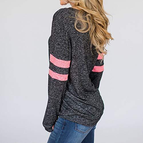 Da T Rosso Righe A Unita Autumn Top Tinta Holiday shirt Vototrade ❤ Lunghe Maniche Stampa Donna Con aqSY77