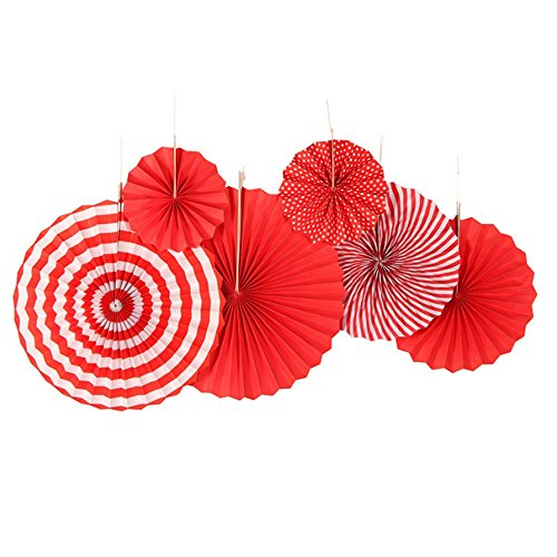 A-Parts 6pcs/Set Party Decoration Set Hanging Paper Fans