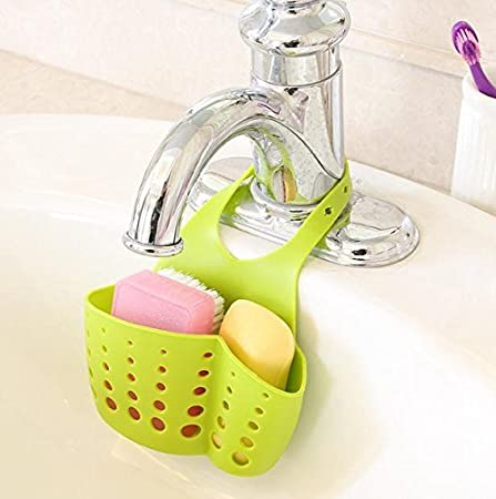 EKRON Kitchen Bathroom Sponge Soap Water Draining Hanging Holder Organizer for Faucet Sink Caddy Organizer Kitchen Accessories, Random Colour