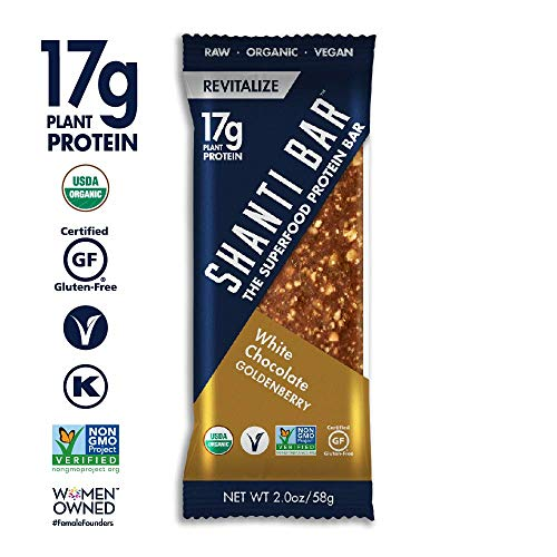 (SHANTI BAR Vegan Organic Superfood Protein Bar | 17g Plant Based Protein | Raw Paleo Gluten Free Snack Bars | White Chocolate Goldenberry, 12 BARS)