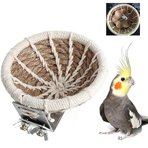 zswell Handmade Flax Rope Weave Bird Breeding Nest and Small Parrot Cage Hatching House Hut Nesting Box for Budgie Parakeet Cockatiel Parakeet Conure Canary Finch - Cockatiel Nest