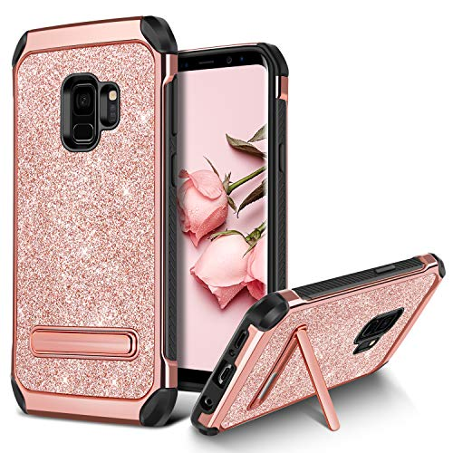 Galaxy S9 Case, BENTOBEN Bling Glitter Samsung S9 Case 2 in 1 Slim Hybrid TPU Bumper Hard PC Cover Coat Sparkly Shiny Cute Faux Leather with Metal Kickstand for Girls Samsung Galaxy S9 Rose Gold/Pink