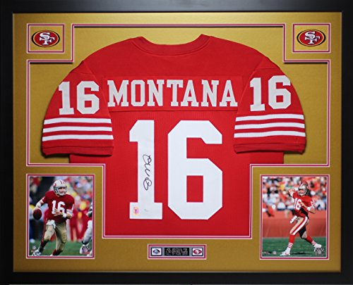 Joe Montana Autographed Red 49ers Jersey - Beautifully Matted and Framed - Hand Signed By Joe Montana and Certified Authentic by JSA COA - Includes Certificate of -