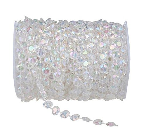 Pearls Clear Crystals Jewelry (BoJia Clear Iridescent 99 ft Clear Crystal Like Beads by the roll - Wedding Decorations)