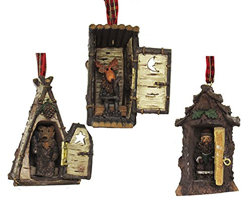 Hinged Rustic Woodland Cottage Outhouses Christmas Holiday Ornaments Set of 3 ()