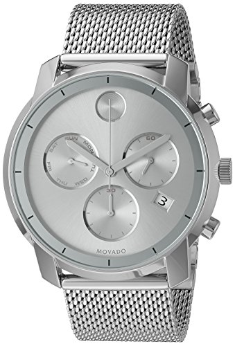 Movado Men's Swiss Quartz Stainless Steel Watch Silver-Toned (Large Image)