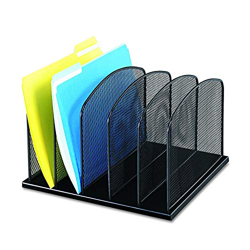 Safco Products Onyx Mesh 5 Sort Vertical Desktop Organizer 3256BL, Black Powder Coat Finish, Durable Steel Mesh Construction