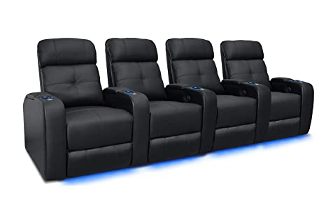 Valencia Verona Premium Top Grain 9000 Leather Power Recliner LED Lighting Home Theater Seating (Row of 4, Black)