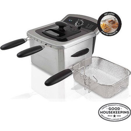 Farberware 4L Dual Deep Fryer with 3 Fryer Baskets, Stainless Steel