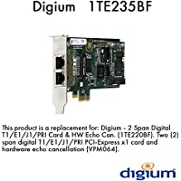 Digium 1TE235BF Two Span Digital T1/E1/J1/Pri PCI-Express X1 Card & HW Echo Can.