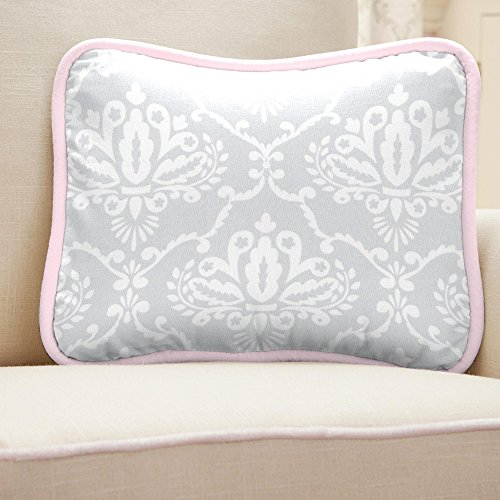 Carousel Designs Pink and Gray Damask Decorative Pillow Rectangular by Carousel Designs