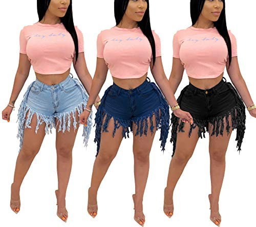 Jean Shorts for Women High Waisted Distressed Frayed Raw Hem Ripped Denim Hot Shorts