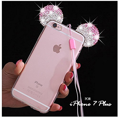 iPhone 7+ / 8+ PLUS Case, Pink/Silver Crystal Diamond Bling Rhinestone Mouse Ears Clear TPU Rubber Cover with Lanyard & Stylus Pen (iPhone 7 PLUS / 8 PLUS)