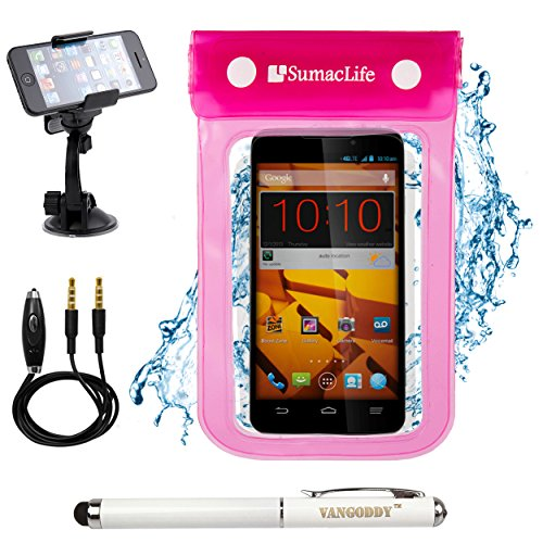 Pink SumacLife Waterproof Dry Pouch Bag Case for Alcatel One Touch Hero / Alcatel One Touch Pop C9 / Alcatel OneTouch POP S9 Smart Phones + 3.5mm Auxiliary Cable + Windshield Mount