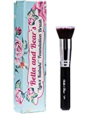 Bella and Bear Foundation Brush - Our Professional Kabuki Flat Stippling Brush Works with Liquid - Mineral and Powder Foundation