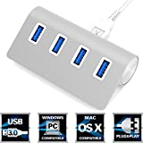 "Sabrent Premium 4 Port Silver Aluminum USB 3.0 Hub (30"" cable) for iMac, MacBook, MacBook Pro, MacBook Air, Mac Mini, or any PC [Silver] (HB-MAC3)"
